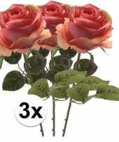 Goedkope x roze roos kunstbloem simone