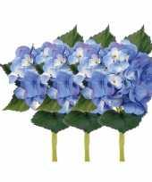 Goedkope x stuks blauwe hortensia kunstbloemen steel 10125044