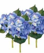 Goedkope x stuks blauwe hortensia kunstbloemen steel 10125045