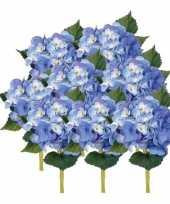 Goedkope x stuks blauwe hortensia kunstbloemen steel 10125047