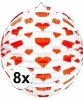 Goedkope x stuks bol lampionnen rond rode hartjes 10121669