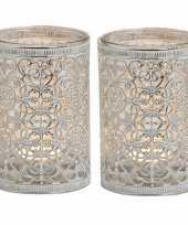 Goedkope x waxinelicht theelicht houders zilver antiek 10140711