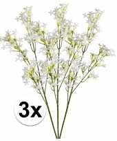 Goedkope x wit groene kroonkruid kunstbloemen tak