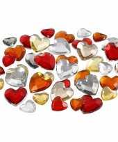 Goedkope x zakje hartjes strass steentjes rood mix totaal stuks