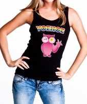 Goedkope yoehoe gay pride tanktop roze knipogende uil zwart dames