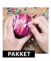 Goedkope zelf pailletten kerstballen maken set