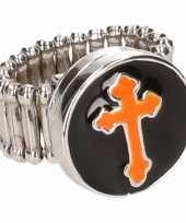 Goedkope zilveren bisschop ring oranje volwassenen