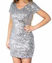 Goedkope zilveren glitter pailletten disco jurkje dames