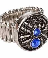 Goedkope zilveren heksen ring blauw volwassenen