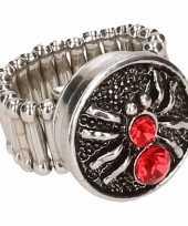 Goedkope zilveren heksen ring rood volwassenen