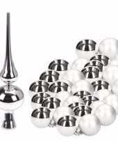 Goedkope zilveren kerstboom versiering set kerstballen piek