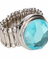 Goedkope zilveren prinsessen ring blauwe diamant volwassenen