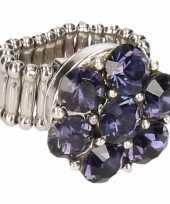 Goedkope zilveren prinsessen ring paarse bloem volwassenen