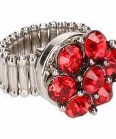 Goedkope zilveren prinsessen ring rode bloem volwassenen