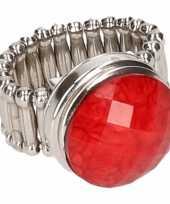 Goedkope zilveren prinsessen ring rood volwassenen