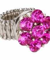 Goedkope zilveren prinsessen ring roze bloem volwassenen