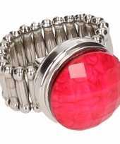 Goedkope zilveren prinsessen ring roze volwassenen