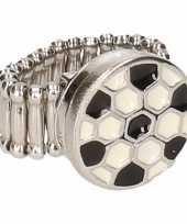 Goedkope zilveren voetbal supporter ring volwassenen