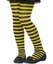 Goedkope zwart gele verkleed panty kinderen