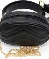 Goedkope zwart gestikt heuptasje schoudertasje meisjes dames