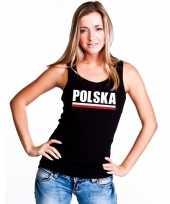 Goedkope zwart polen supporter singlet-shirt tanktop dames