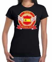Goedkope zwart spain drinking team t-shirt dames