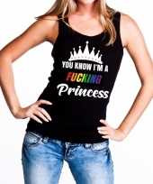 Goedkope zwart you know i am a fucking princess tanktop dames