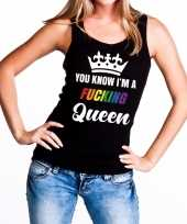 Goedkope zwart you know i am a fucking queen tanktop dames