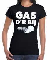 Goedkope zwarte cross gas der bij festival t-shirt zwart dames