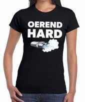 Goedkope zwarte cross oerend hard festival t-shirt zwart dames