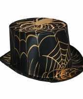 Goedkope zwarte hoge hoed gouden spin