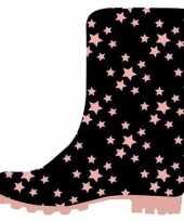 Goedkope zwarte kleuter kinder regenlaarzen roze sterretjes goedkope