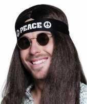 Goedkope zwarte peace hoofdband volwassenen