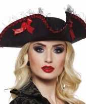 Goedkope zwarte piraten driesteek hoed dames