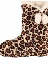 Hoge dames slof sokken luipaard goedkope bruin