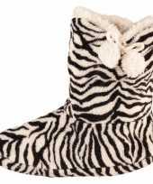 Hoge dames slof sokken zebra goedkope zwart wit