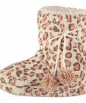 Hoge dames sloffen luipaard goedkope roze