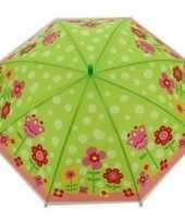 Kinderparaplu bloemen goedkope groen roze