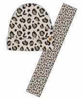 Luxe kinder winterset sjaal muts luipaard goedkope beige