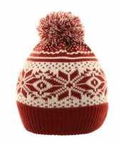 Nordic goedkope winter muts rood wit pompon kinderen