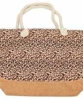 Strandtas luipaard panter goedkope bruin roze
