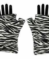 Vingerloze handschoenen zebra goedkope volwassenen