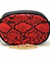 Zwart rood slangengoedkope heuptasje schoudertasje