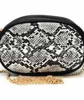Zwart wit slangengoedkope heuptasje schoudertasje